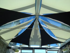 Indoor shade sails can be used to reduce heat .