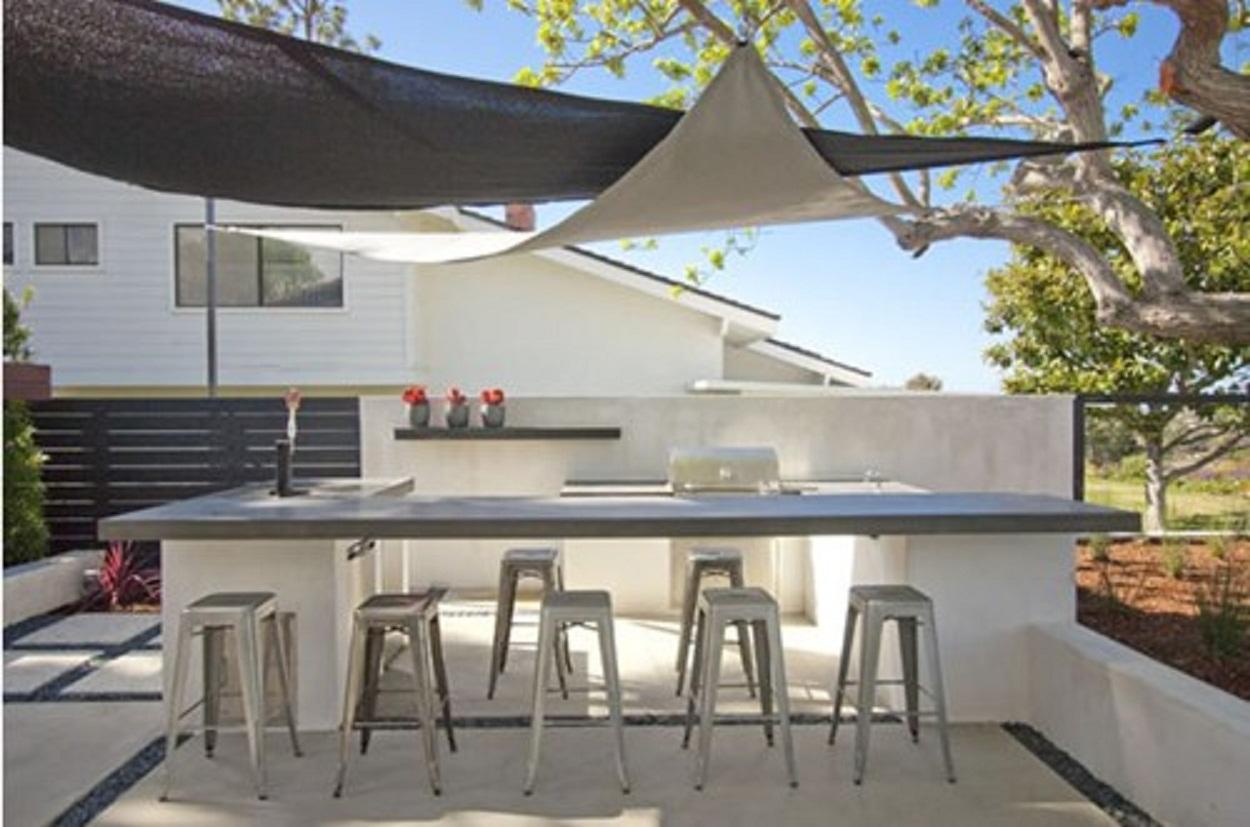 Alfresco living with shade sail canopies on Shade Sail Backyard Ideas id=69440